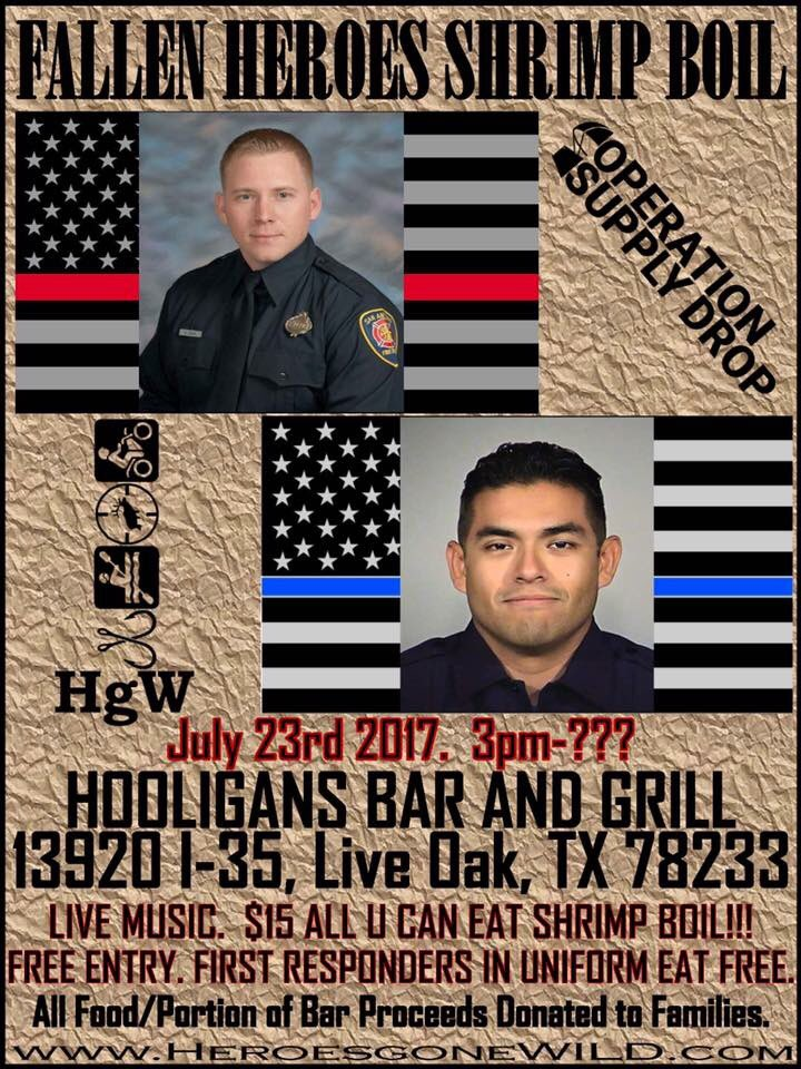 Join us @ #Hooligans #LiveOak tomorrow @ 3 for the #FallenHeroes #ShrimpBoil to celebrate the lives of 2 #SanAntonio #FirstResponders <br>http://pic.twitter.com/T6PuSjWpFZ &ndash; bij Hooligan&#39;s Bar &amp; Grill