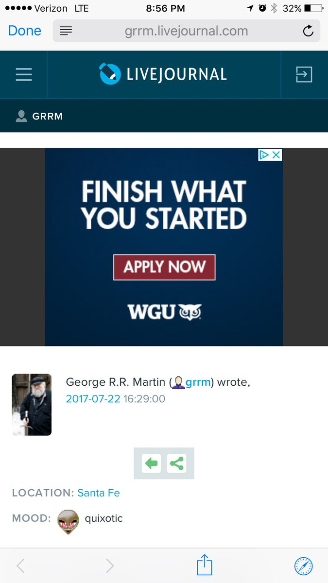 Holy shit this ad on George RR Martin's blog