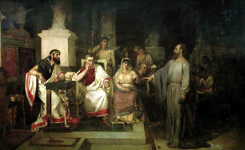 Василий Суриков. «Апостол Павел объясняет догматы веры в присутствии царя Агриппы, сестры его Береники и проконсула».