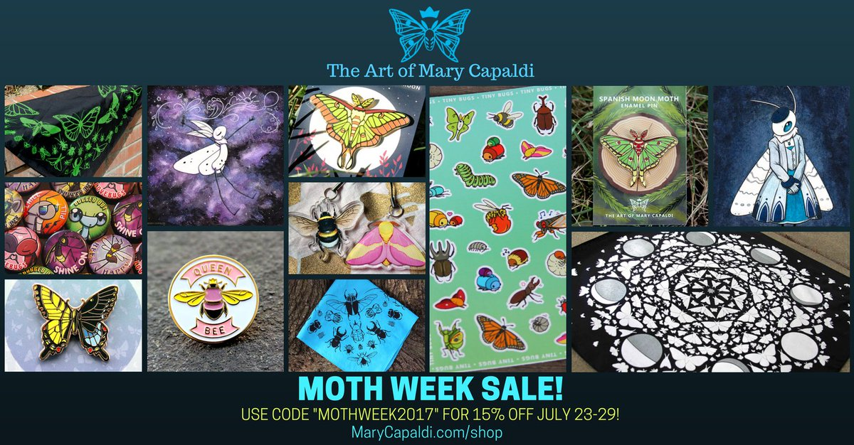 It&#39;s MOTH WEEK!! Time for the annual Moth Week Sale! Take 15% off only at  http:// MaryCapaldi.com/shop  &nbsp;   with &quot;MOTHWEEK2017&quot; #sciart #teammoth <br>http://pic.twitter.com/5WdHQGw5h5