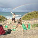 Sunshine, rain & rainbows! Makes for happy planters at #PointMoore today! 🌈☀️🌱@Cam_Perrett @CityofGG @NACC_NRM