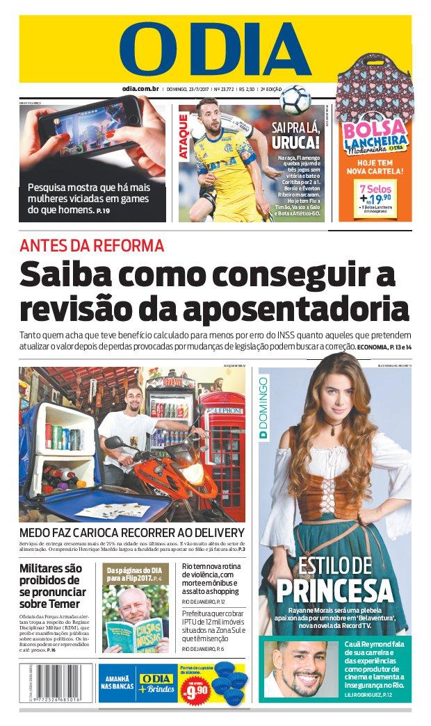 Bom dia, leitores do @jornalodia. Eis a capa de hoje 23/07/2017. #capaODIA. Saiba tudo em https://t.co/FQEIhBBx7Z