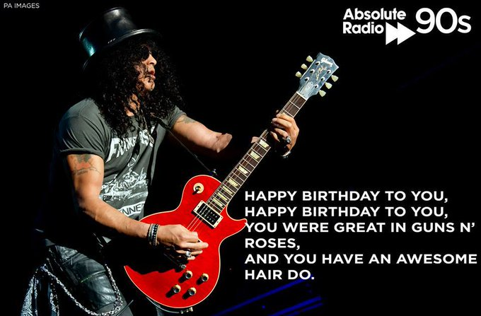A massive Happy Birthday to Slash who is 52 today!  What is your favourite Guns N\ Roses track?