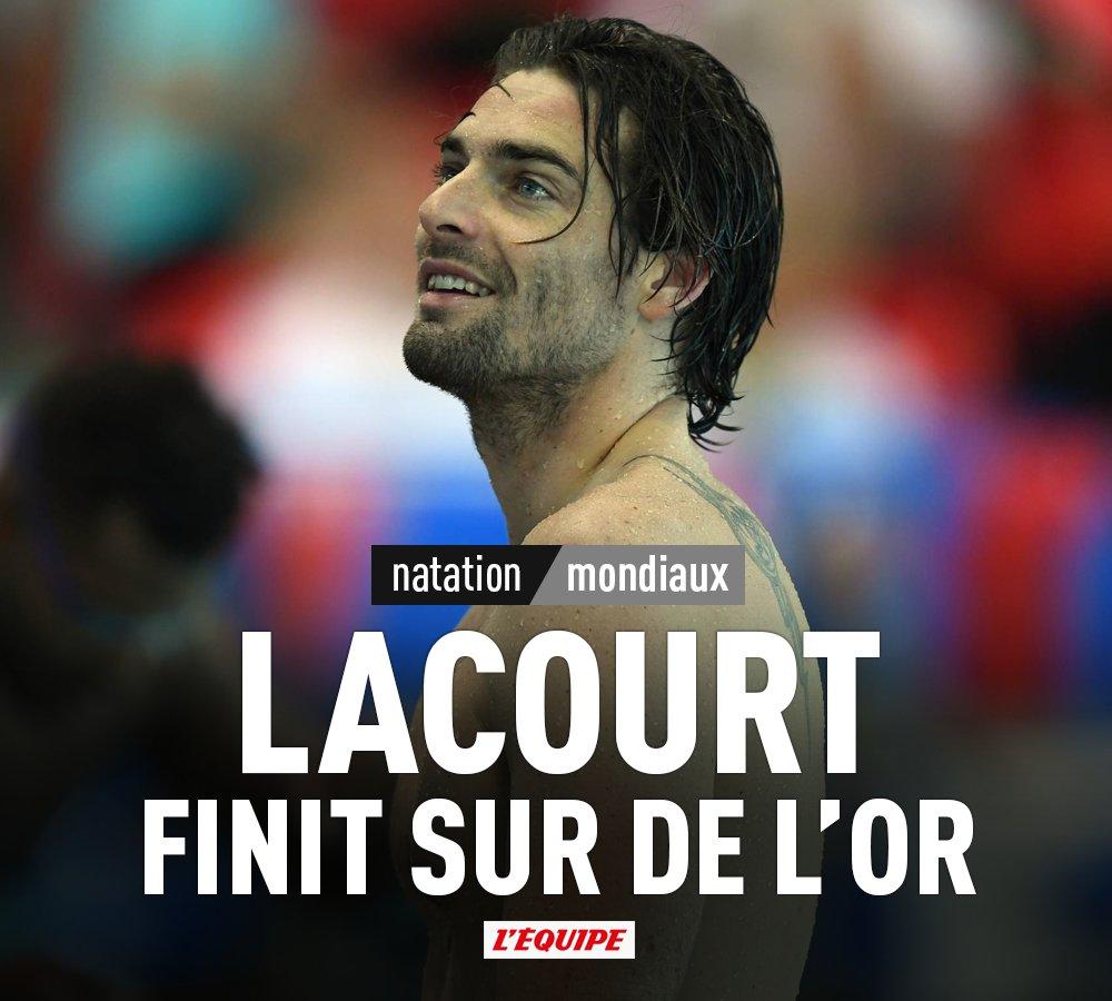 🇫🇷 Le Français Camille Lacourt a remporté le titre de champion du monde du 50 mètres dos (24'35) pour la dernière course de sa carrière.