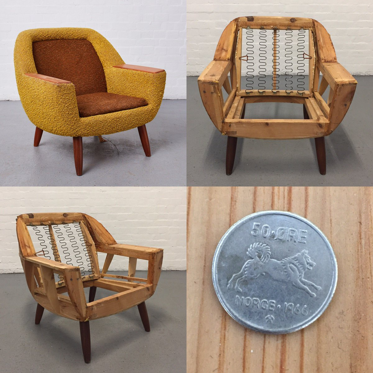 I've just finished stripping this chair & found a 1966 coin from Norway - Norwegian cocktail chair? #vintagechairs #upholstery #Interiors pic.twitter.com/zQ87wpSWTz – at Artwork Atelier