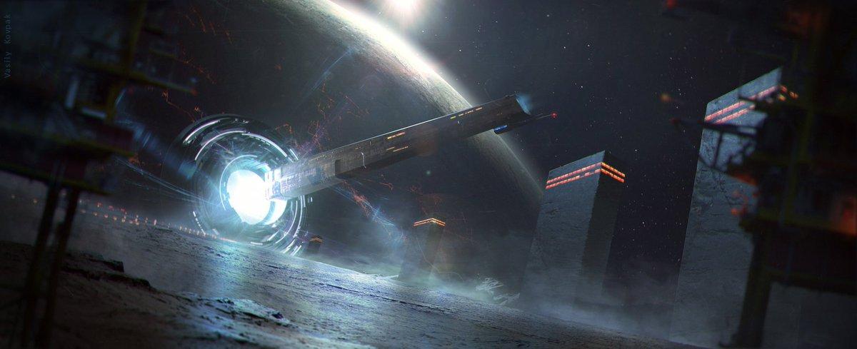 #Portal in #Space |#Art by #VasiliyKovpak #DigitalArt #2D #3D #SciFi #MattePainting #Illustration #Starship #Planet #Orbit #Jump #Gate #Dust<br>http://pic.twitter.com/fxjxte2Z6O