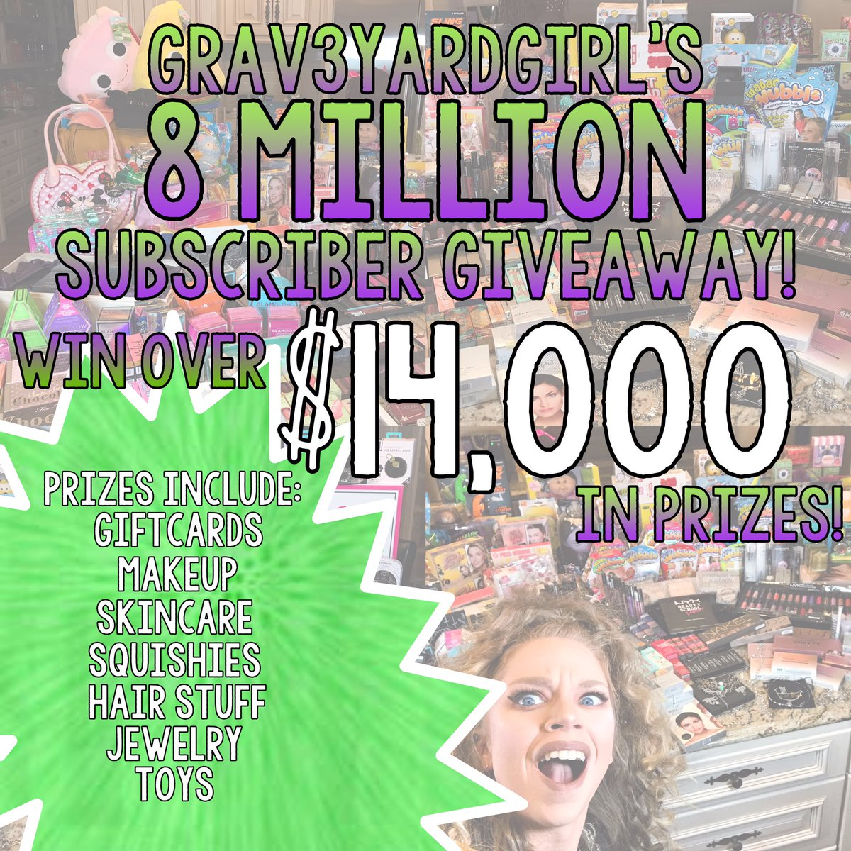 #grav3yardgirl8MILLIONgiveaway enter for the chance to win over $14,000 in prizes! https://t.co/6CBF0dwZxc https://t.co/2C1hBCh6AK