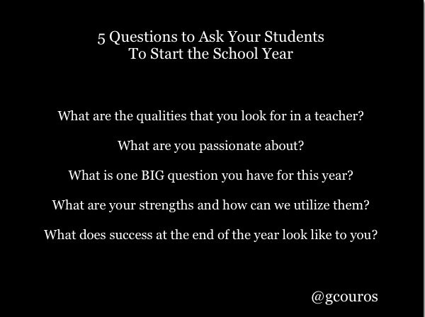 5 Questions to Ask Your Students To Start the School Year https://t.co/cMYSmVV8oM https://t.co/FvxkuxPeOK