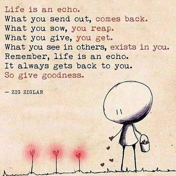 Life is an echo.  Spread goodness.  #ThinkBIGSundayWithMarsha #innovation #tech #fintech #bigdata #AI #Science #regtech #blockchain #IoT<br>http://pic.twitter.com/JEprXGL65G