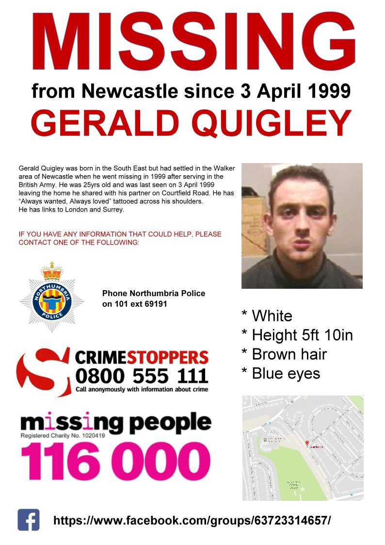 Please RT Gerald Quigley has been #missing 18yrs from #Newcastle #SundayShare #FindGeraldQuigley #DamiensLaw<br>http://pic.twitter.com/WIufynWosy