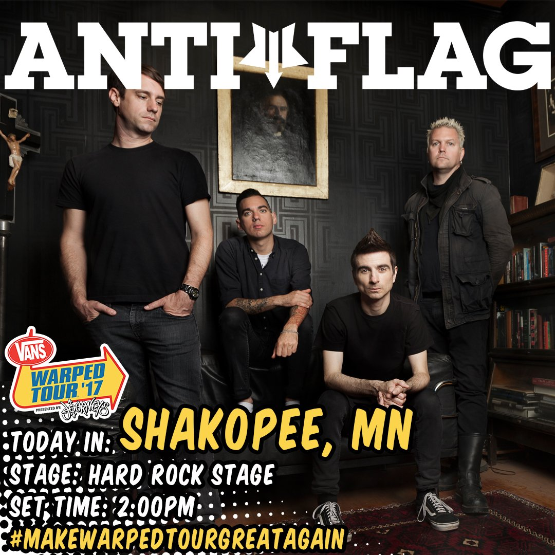 Shakopee, #MN @VansWarpedTour! We&#39;re playing the hard rock stage at 2pm! 2:45pm meet &amp; greet at our tent, we&#39;ll be joined by @amnestyusa!<br>http://pic.twitter.com/33arshcz91