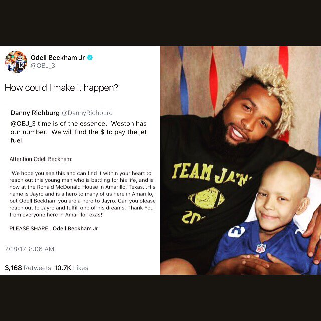 This is amazing. @OBJ_3 made sure he went to Texas to make a 9 yr old boy battling cancer dreams come true.  #GiantsPride #GMEN #Giants<br>http://pic.twitter.com/7EszfOIyab