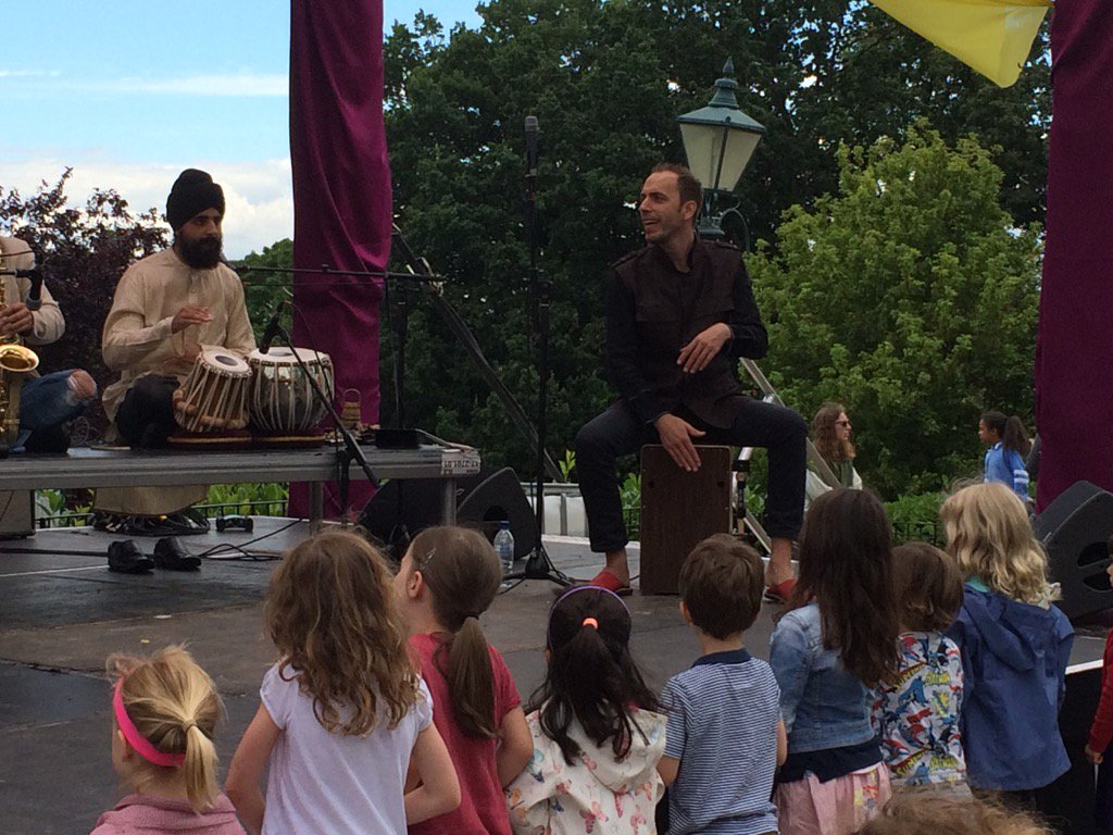 Young fans at the front for Indian rhythms @Soumik_Datta curated Indian summer Baaja @HornimanMuseum https://t.co/Qi20JLxuxK