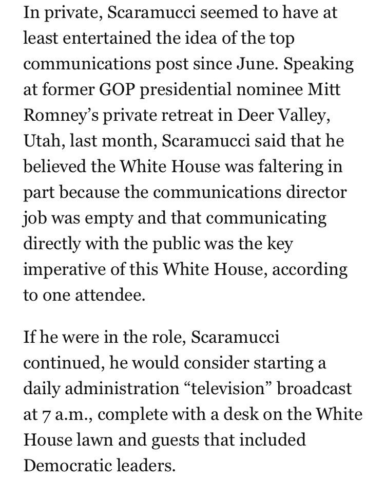 On the Sunday shows, Scaramucci says he'll overhaul WH comms. One idea he's already floated: State-run TV. https://t.co/fdJXgFre7K