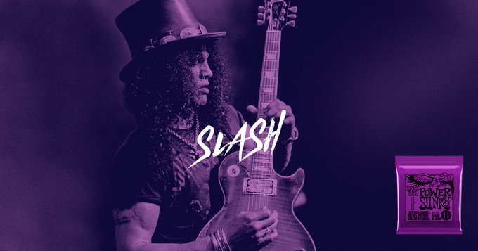 We\re proud to have legendary guitarist as a longtime member of the Ernie Ball family. Happy birthday, Slash.