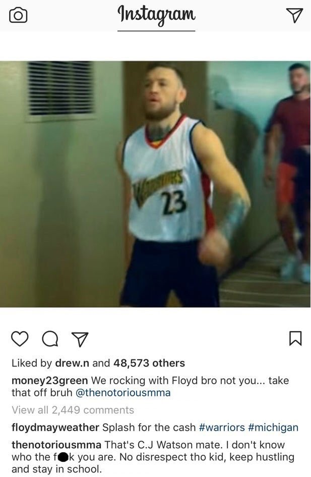RT @NBA_Skits: Conor McGregor's comment on Draymond Green's Instagram post. 👀 https://t.co/Y5I2HwQxgh