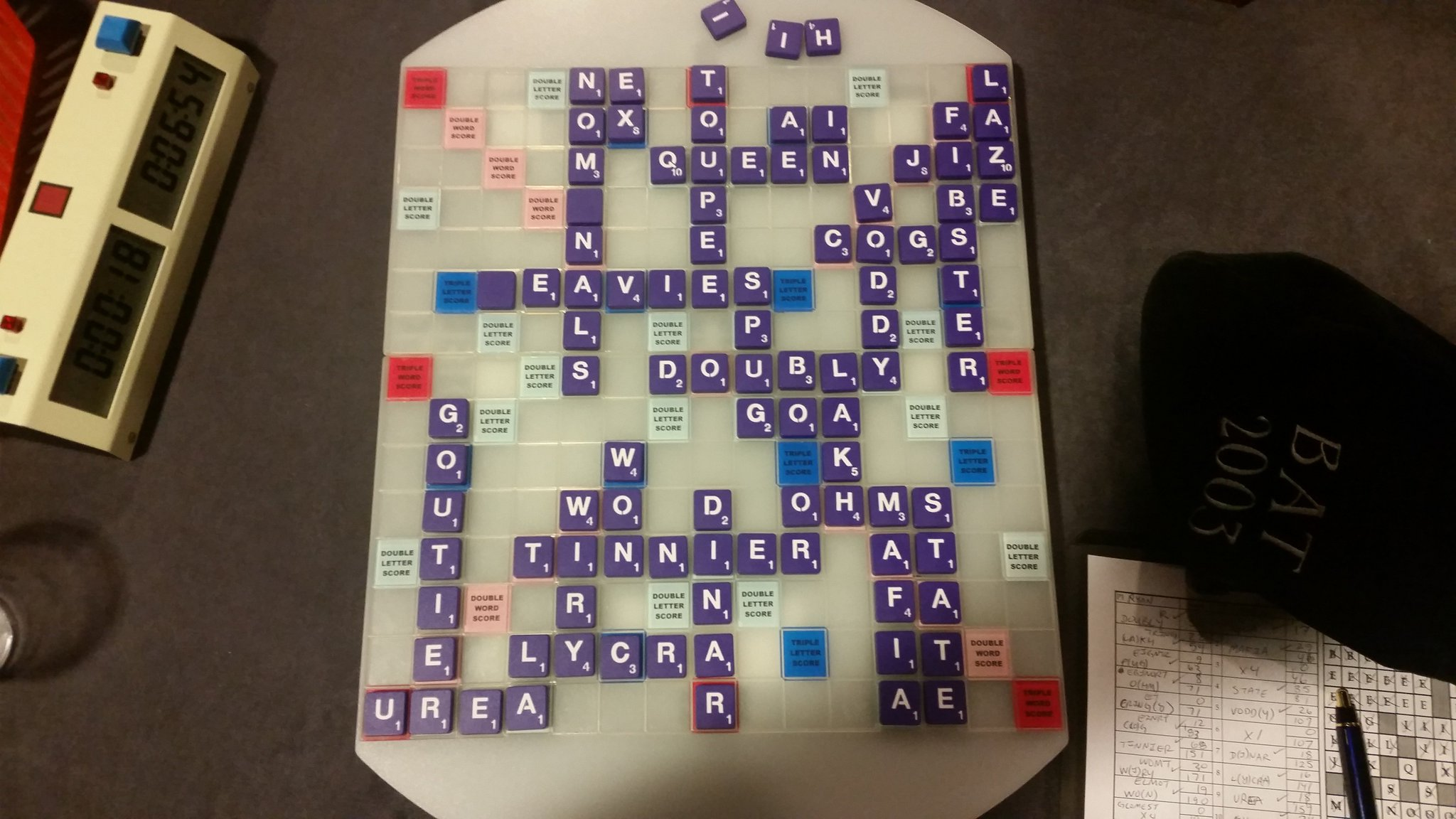Lost a heartbreaker to Broesma.  Led most of the way, then he draws both blanks and x bomb late to win by 9.  #scrabble #nasc2017 https://t.co/CGSGy9G7jC