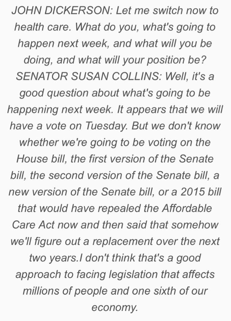 Susan Collins says the health care vote is Tuesday but she doesn't kno...