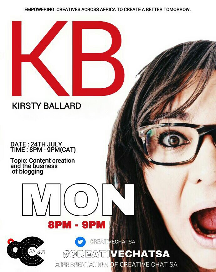This time tomorrow we&#39;ll be chatting #content, business of #blogging and more w. @KirstBallard and @Tiffany_nlx. #CreativeChatSA #creatives<br>http://pic.twitter.com/AFehtC6VbO