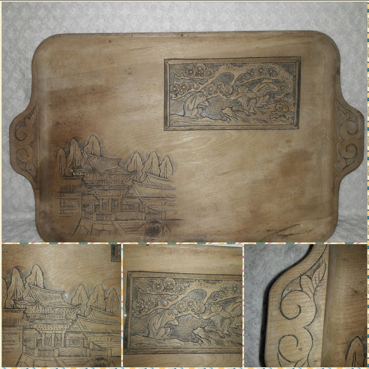 Vintage Hand Carved Raised Relief Japanese Serving Tray  Look at this on eBay  http://www. ebay.com/itm/1124930414 01 &nbsp; …  #art #woodworking #Japanese #vintage<br>http://pic.twitter.com/xGSKTTOW5l