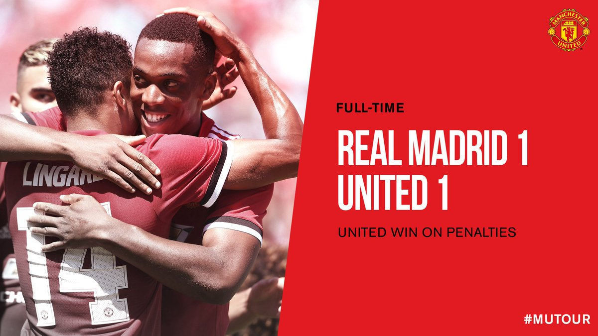 FT: Real Madrid 1 #MUFC 1 (1-2 on penalties). Another #MUTOUR victory!