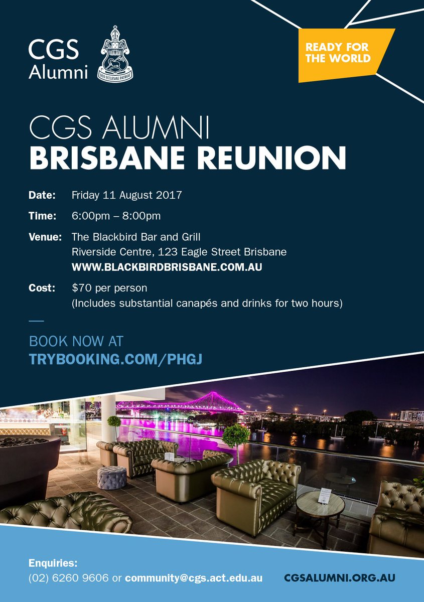 Are you in the Brisbane area? We'd love to see you at our CGS Alumni Reunion on Fri 11 Aug. More info at https://t.co/6l9nNkDV9Z