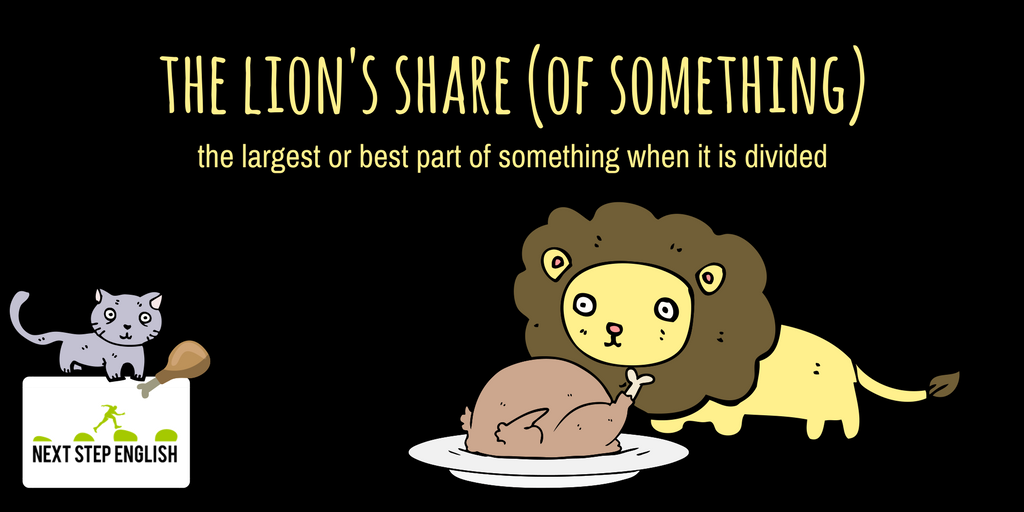 : Why does Tina get the lion&#39;s share of the pizza? I paid for it! : Go easy on her. She&#39;s pregnant!   #LearnEnglish #idioms #vocabulary <br>http://pic.twitter.com/ZcHHoWf3dE