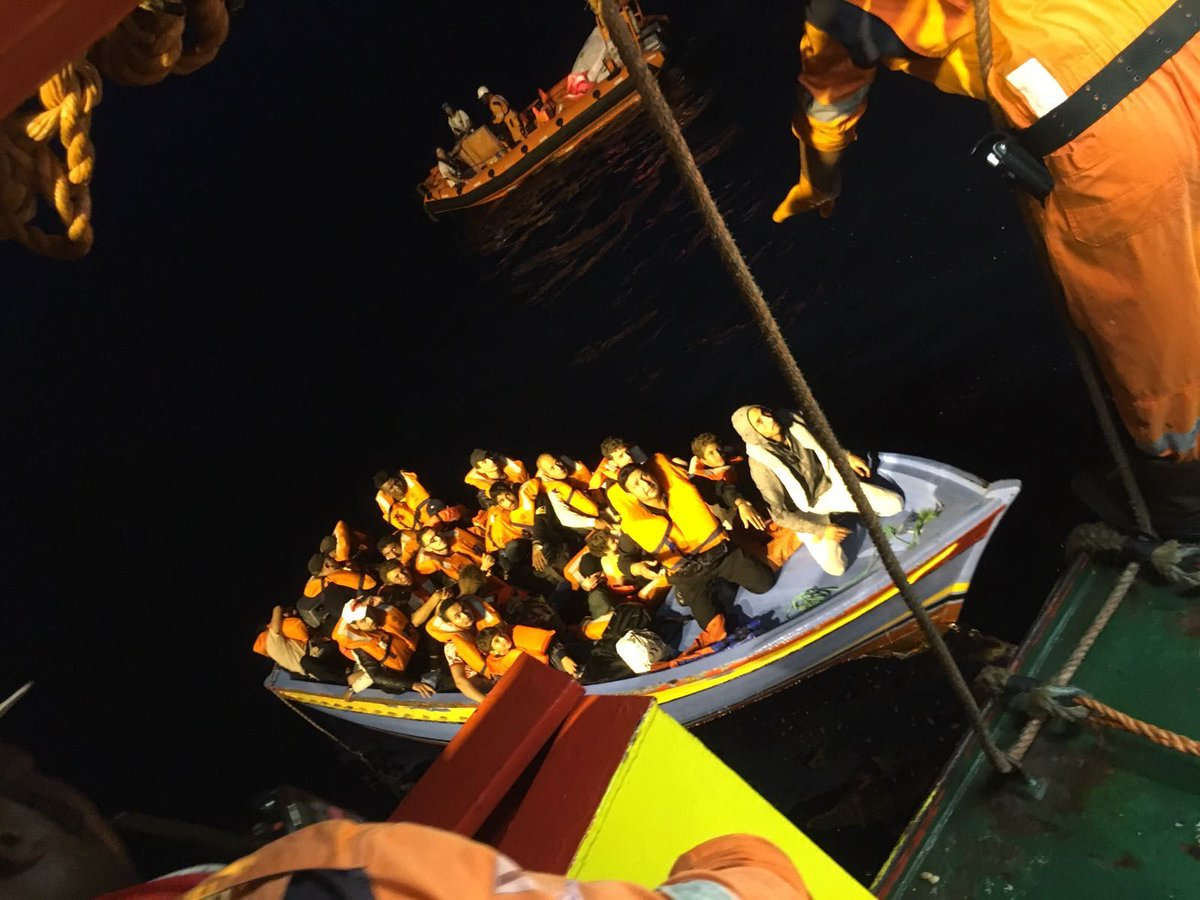 UPDATE: Early this morning the #Prudence rescued 25 #people including 5 little kids and a pregnant woman from this toy like wooden boat. <br>http://pic.twitter.com/FaFD6lRT9k
