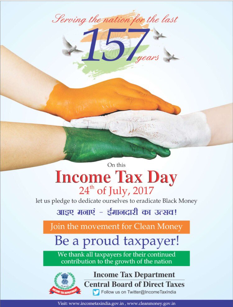 Every contribution matters.Cheers to @IncomeTaxIndia & Every Tax Payer who is Contributing towards eradication of Black Money. #incometaxday <br>http://pic.twitter.com/ZTMxv6MAFx