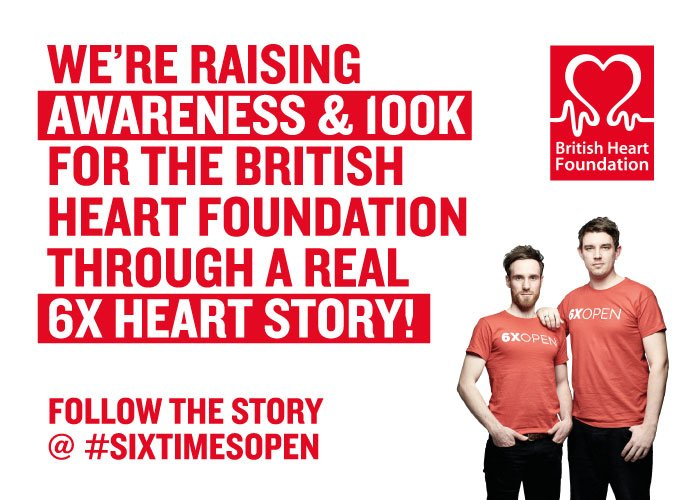 RT @sixtimesopen is a campaign to raise awareness + 100K for the @TheBHF through a 6X heart story.  http://www. sixtimesopen.com / &nbsp;    #charity #press <br>http://pic.twitter.com/ukmnPKKK11