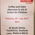 Join us for drinks and cake tomorrow at #YouthZone #ThreeRivers #NCS #SocialActionProject are raising money for #ActionForChildren