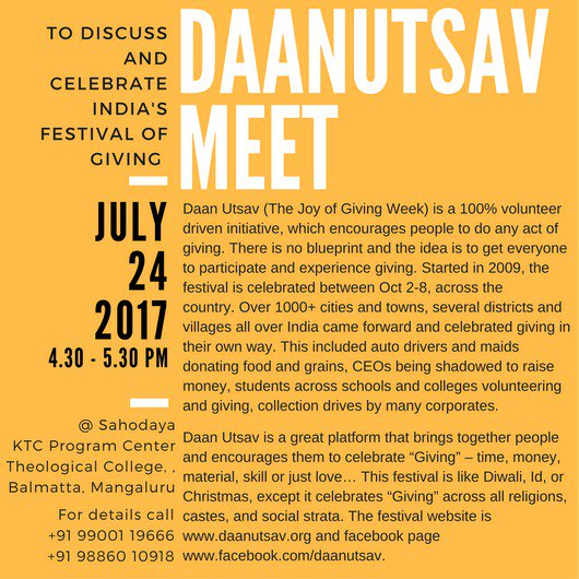 #DaanUtsav meet in Mangalore. Join us and share the joy of giving #philanthropy #giving #share #spread #smiles  24th July 2017 4:30 PM<br>http://pic.twitter.com/ZNUbOXUbNO