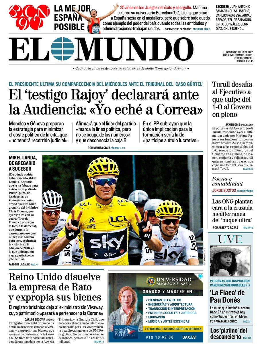 RT @elmundoes: #LaPortada de nuestra edición impresa y la apertura de nuestro suplemento de verano 'UVE' #FelizLunes https://t.co/yZw2GC8TWj