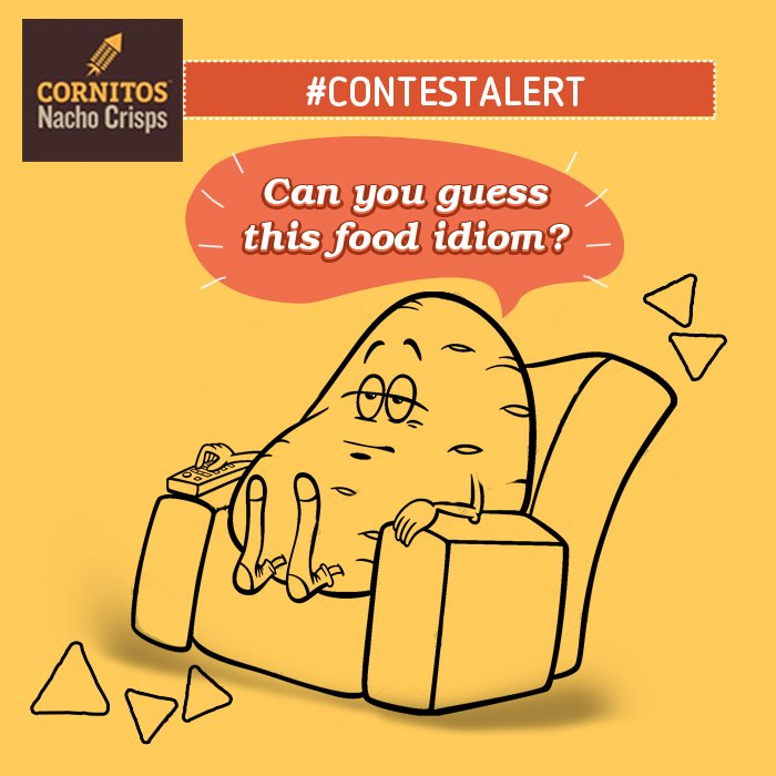 #ContestAlert Can you guess this food idiom? Tag your friends to help you out &amp; stand a chance to win Cornitos Hamper. #Like #Share#Tag #Win<br>http://pic.twitter.com/swlsW0Hhru