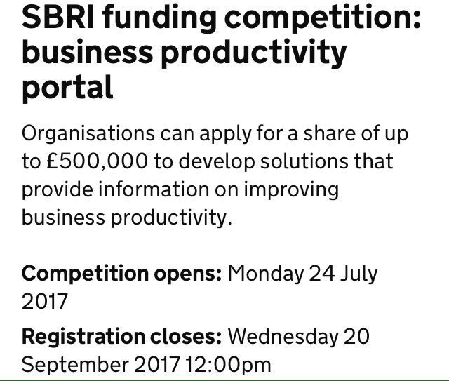 Delighted @innovateuk is working w/ the #Productivity Leadership Group - business portal competition opens today  … https://apply- for-innovation-funding.service.gov.uk/competition/45 /overview &nbsp; … <br>http://pic.twitter.com/cmC1rmLCBH