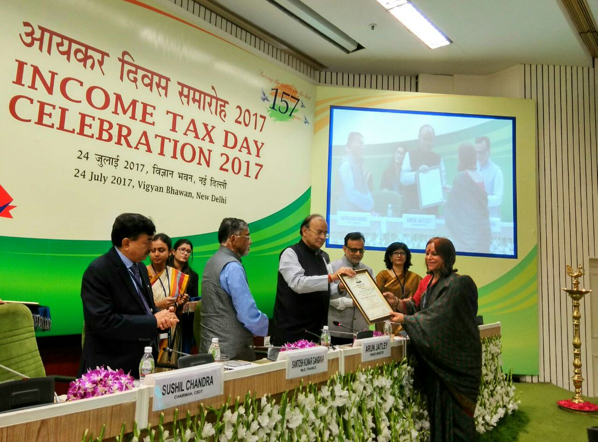 FM @arunjaitley presented Commendation Certificates to officers of #IncomeTax Department on #IncomeTaxDay  #AIRPics: Dipendra<br>http://pic.twitter.com/shOy0VoF2m