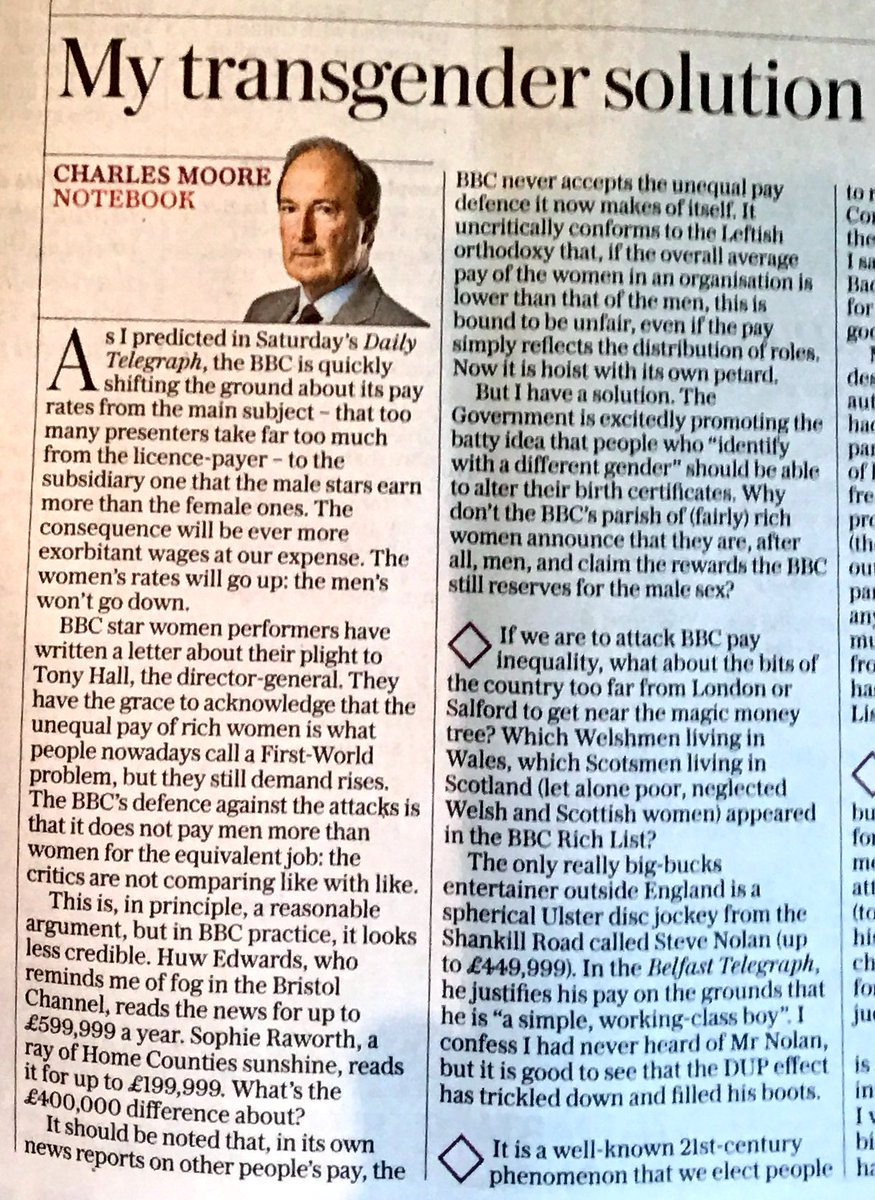 Spot on from Charles Moore in tele today. Just watch those female Beeb salaries soar rather than the logical slashing of male pay packets.