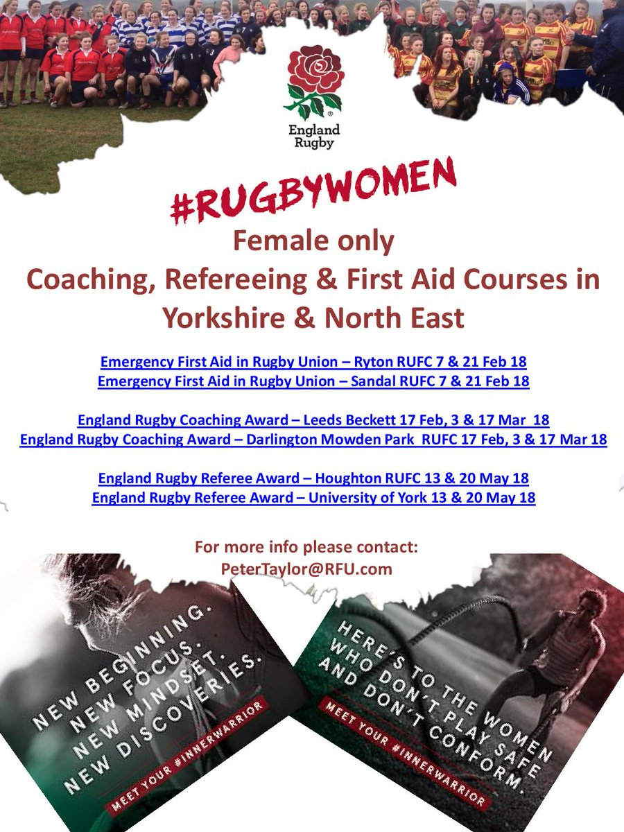 Calling all women for our first ladies only RFU courses for #Refereein #Coaching and #FirstAid book online at &gt;  http://www. englandrugby.com/my-rugby/cours es/search/#/search &nbsp; … <br>http://pic.twitter.com/GUYw829kzV