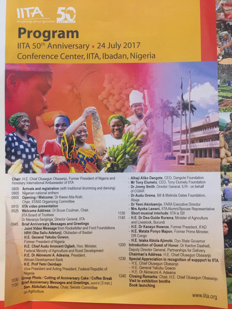 The delegation of speakers for #IITA50 celebrations. Lots of support to @IITA_CGIAR to #Innovate the next 50 yrs. <br>http://pic.twitter.com/8HmoHMSfri