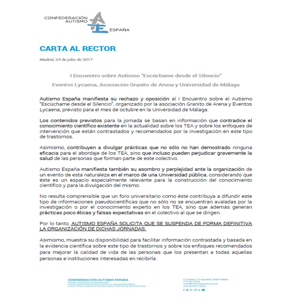 Autismo espaa on twitter enviada la carta al rector de 459 am 24 jul 2017 altavistaventures Images