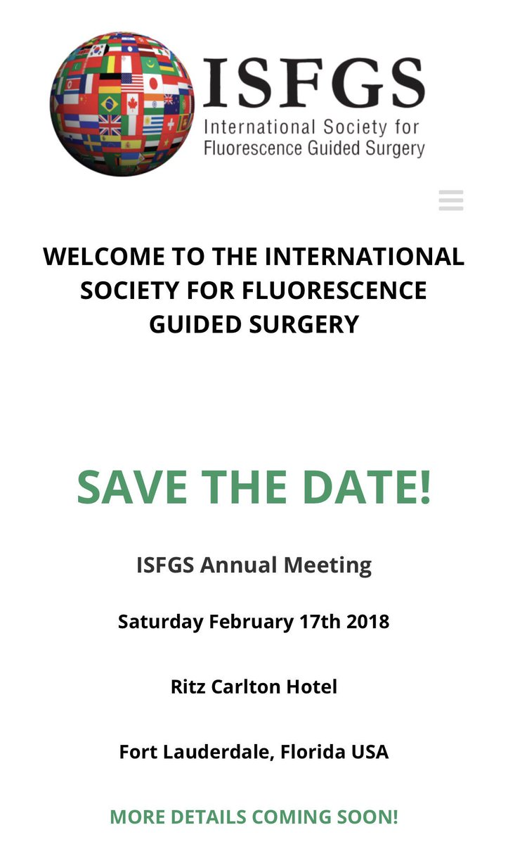 ISFGS Annual Meeting Feb 2018 - latest fluorescence innovation in great location  https://www. isfgs.org  &nbsp;   - register now #colorectalsurgery <br>http://pic.twitter.com/c7bPySyGVS