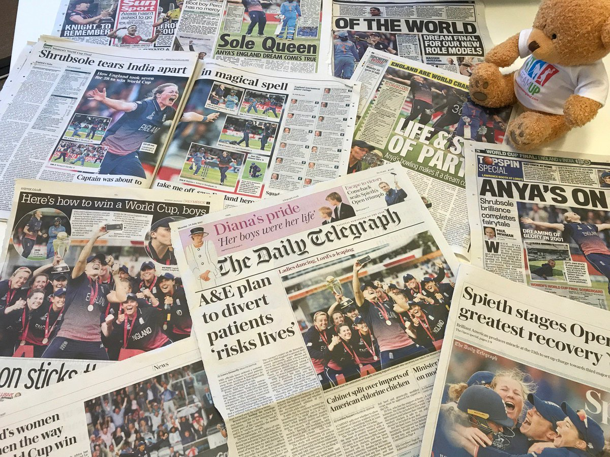 Front pages, back pages.. every page you can think of. Brilliant coverage of a phenomenal game @englandcricket #wwc17 #inspire #womeninsport<br>http://pic.twitter.com/uCRDhVQL0a