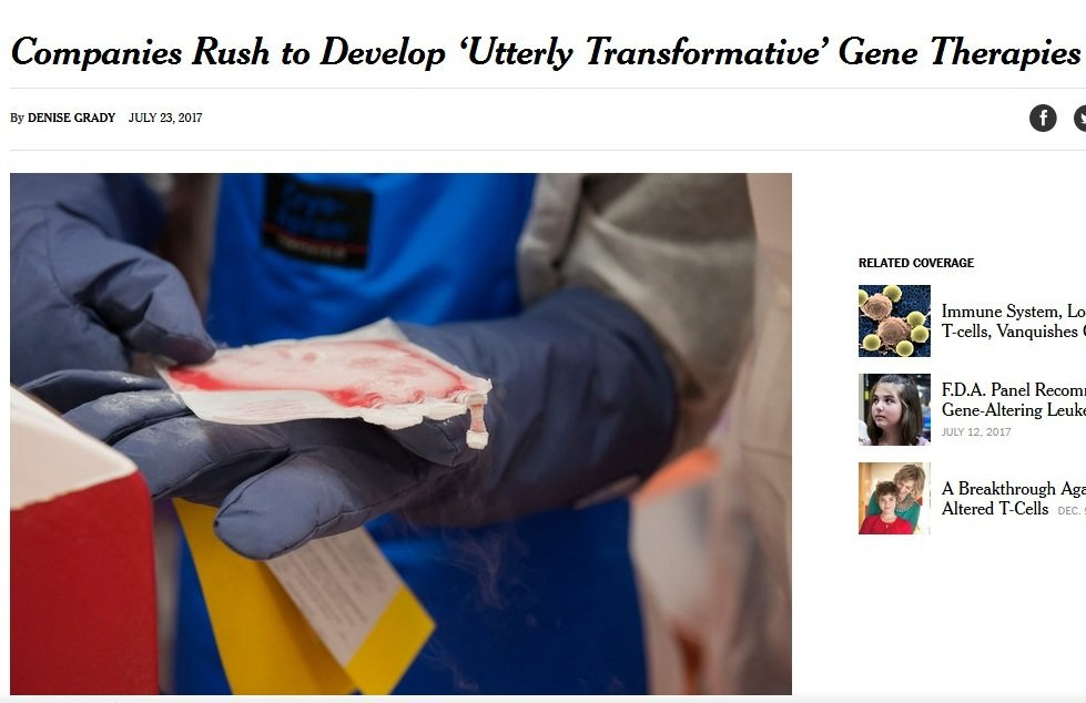 #GeneTherapy 2.0&#39;s Excitement Indeed Reaching Fevered-Pitch  https://www. nytimes.com/2017/07/23/hea lth/gene-therapy-cancer.html &nbsp; …  #biotech #RareDisease #science #tech #genomics #SNRTG<br>http://pic.twitter.com/oxrYUXi6bO