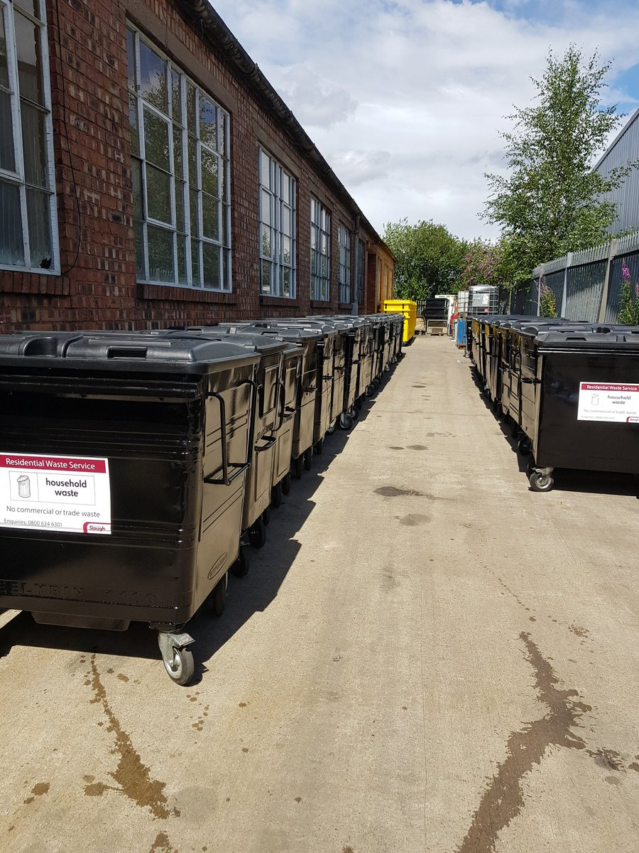 refurbished waste containers waiting to be delivered and put back into services at our Birmingham depot. #refurbished  #recycle<br>http://pic.twitter.com/pezPzBsx83