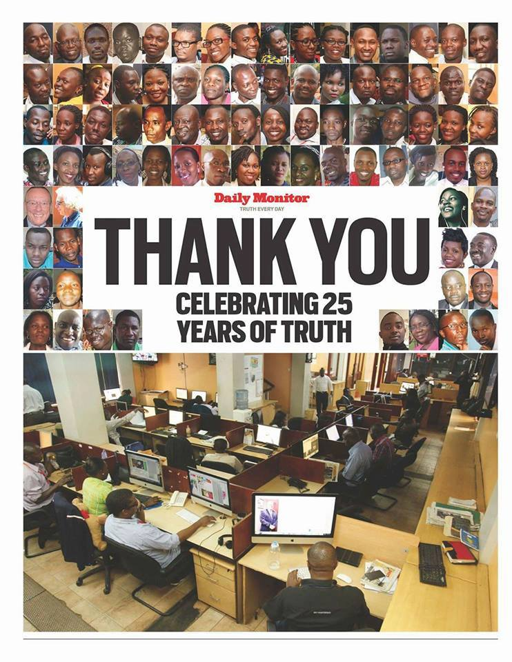 Thank you @DailyMonitor for moulding me, for opportunity and direction when I walked in as university student. Keep the faya!  #MonitorAt25 https://t.co/21L1ASJqfC