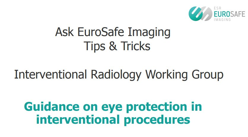 #Interventional #Radiology Working Group. Guidance on #eye protection in interventional procedures #eurosafeimaging  http://www. eurosafeimaging.org/wp/wp-content/ uploads/2015/09/IR-WG_TipsTricks6_final.pdf &nbsp; … <br>http://pic.twitter.com/2tgqz1YssZ