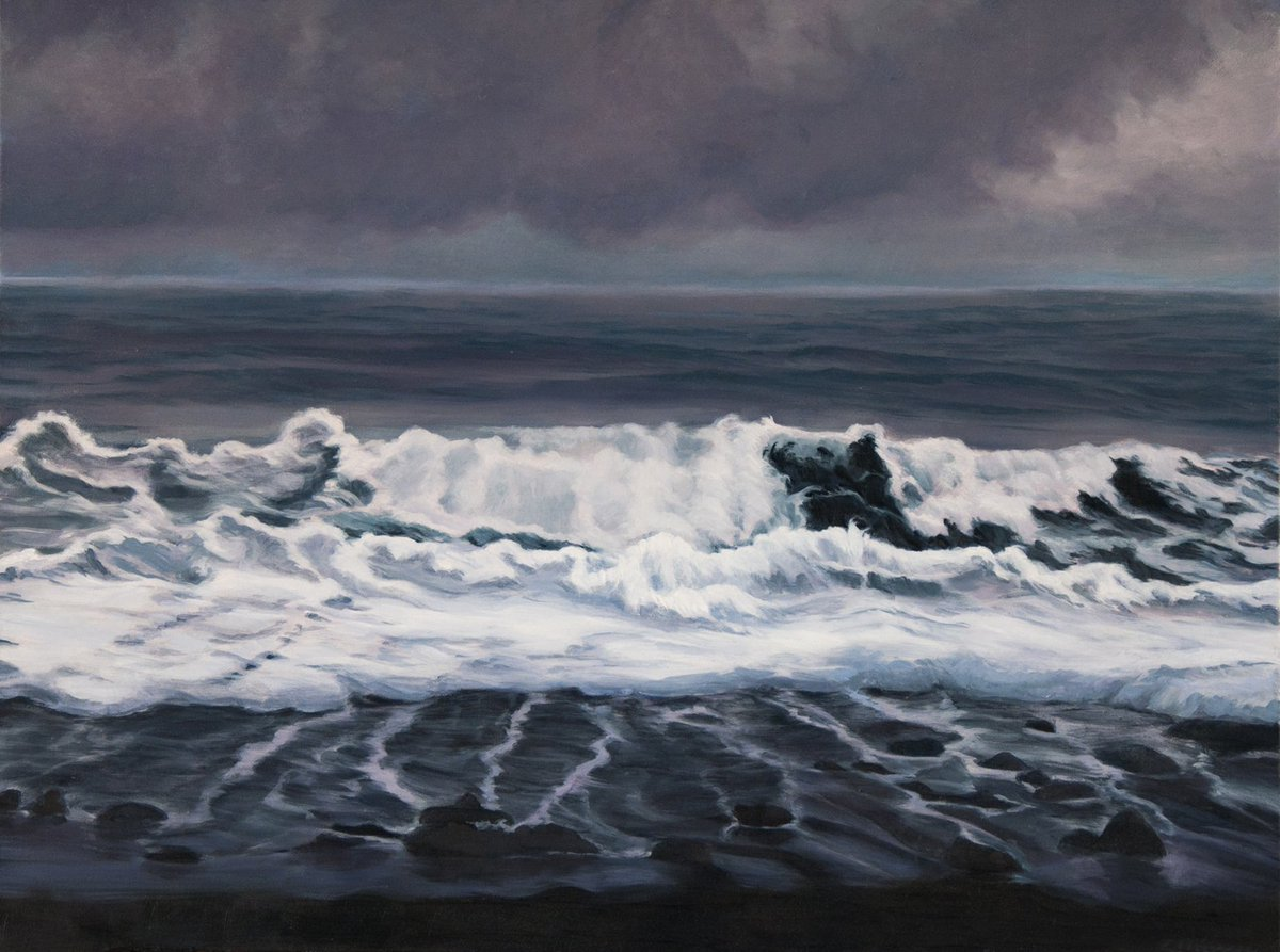 Coming Waves  http:// ow.ly/iNUo308dfNw  &nbsp;   #seascape #landscape #painting #art #interiordecor #blackandwhite #wave #blacksand #beach <br>http://pic.twitter.com/g7YWJE3uKM
