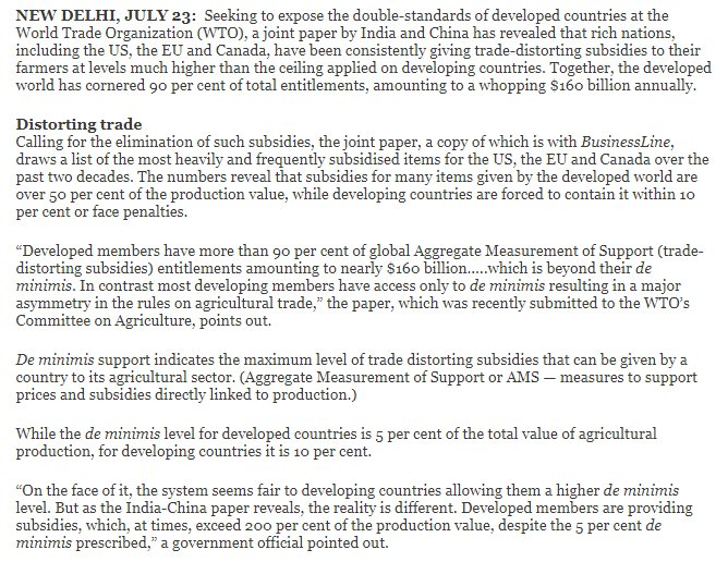 #WTO Developed countries r allowed to provide #farm subsidy not exceeding 5% of prod value but provide subsidies exceeding 200% Double Talk<br>http://pic.twitter.com/1vtsfg78hI