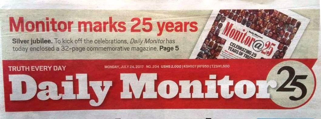 Congrats @DailyMonitor on 25 years of national, regional & international perspectives, opportunities & real life experiences. #MonitorAt25 https://t.co/QdTDdTw5Nz