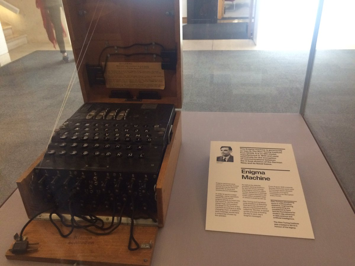 Enigma machine on display at the British Library